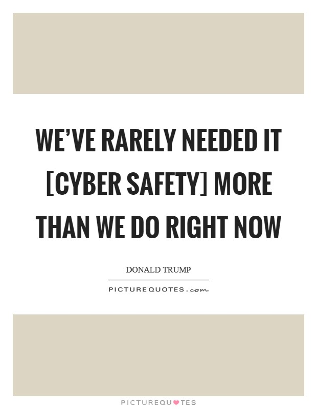 We've rarely needed it [cyber safety] more than we do right now Picture Quote #1