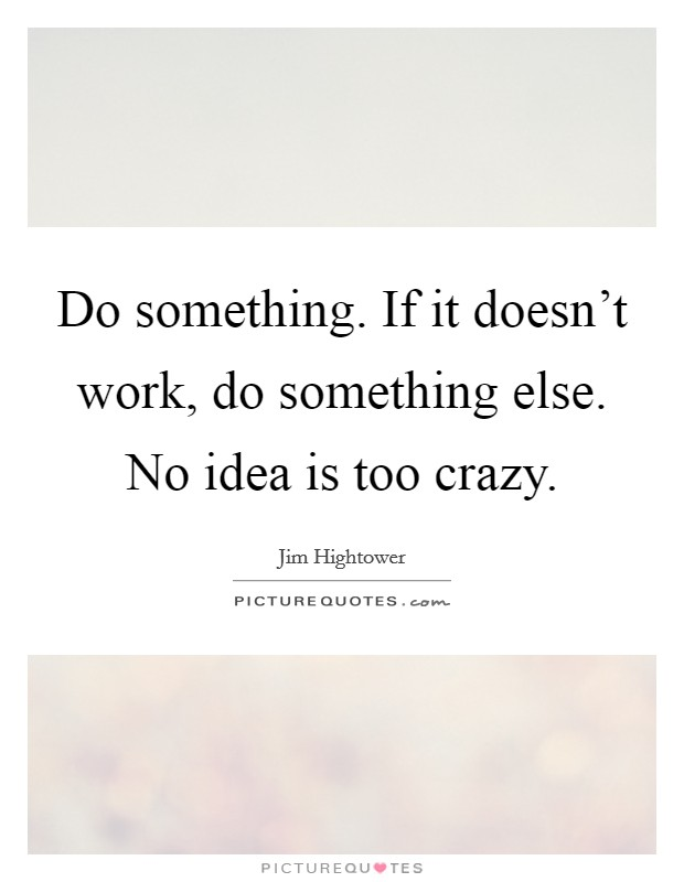 Do something. If it doesn't work, do something else. No idea is too crazy Picture Quote #1