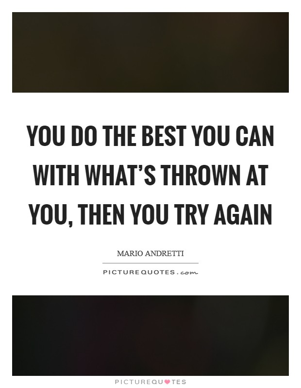 You do the best you can with what's thrown at you, then you try again Picture Quote #1