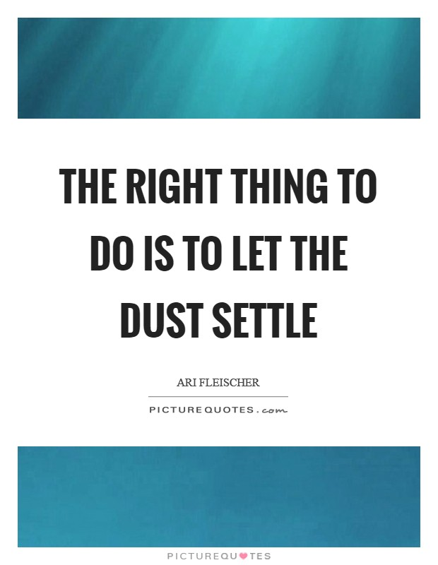 The right thing to do is to let the dust settle Picture Quote #1