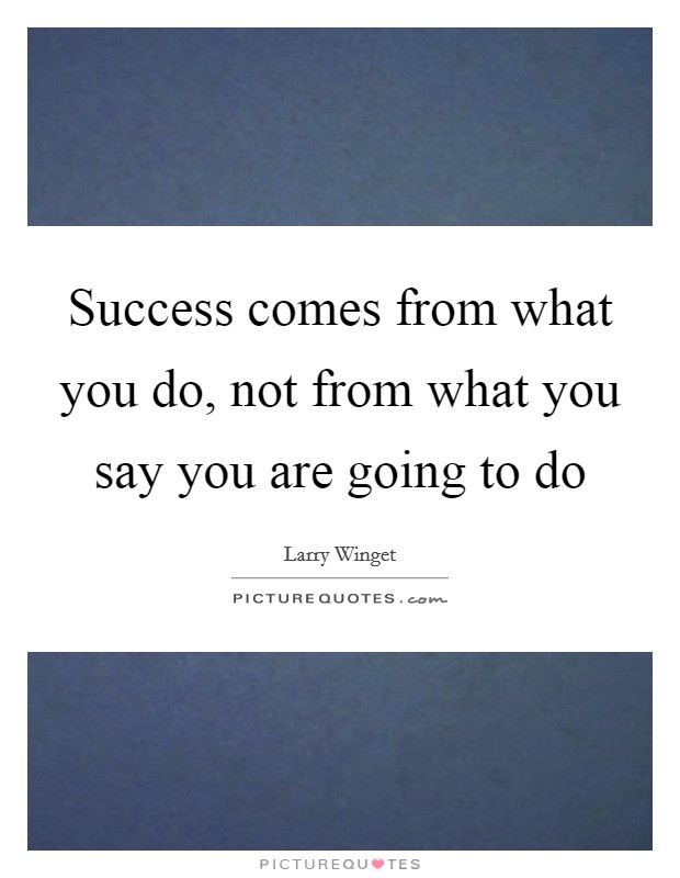 Success comes from what you do, not from what you say you are going to do Picture Quote #1
