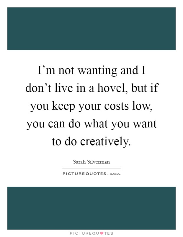 I'm not wanting and I don't live in a hovel, but if you keep your costs low, you can do what you want to do creatively Picture Quote #1