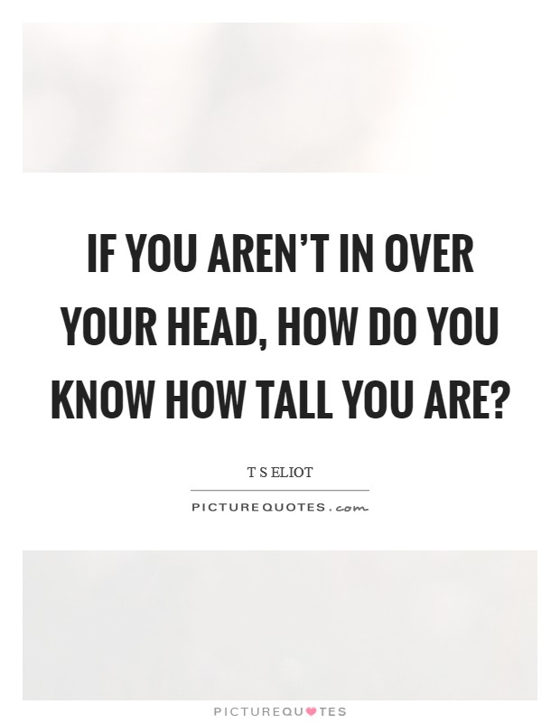 If you aren't in over your head, how do you know how tall you are? Picture Quote #1