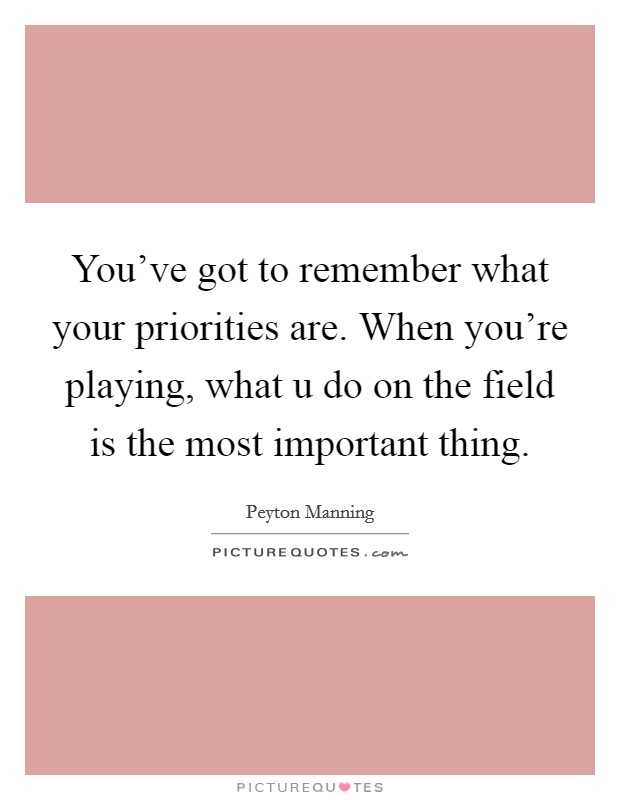 You've got to remember what your priorities are. When you're playing, what u do on the field is the most important thing Picture Quote #1