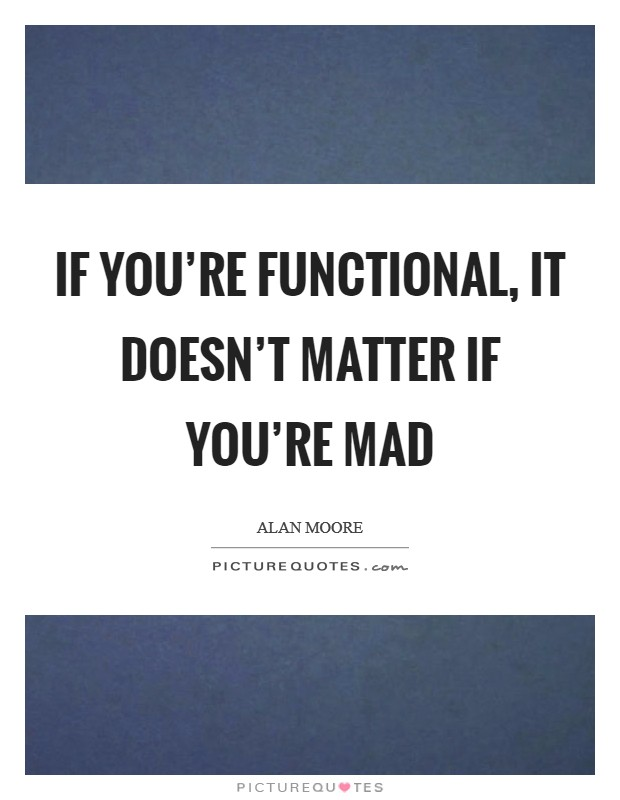 If you're functional, it doesn't matter if you're mad Picture Quote #1