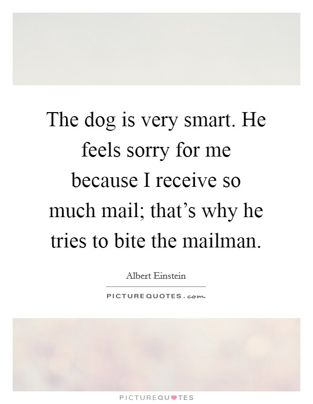 The dog is very smart. He feels sorry for me because I receive so much mail; that's why he tries to bite the mailman Picture Quote #1