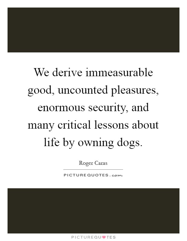 We derive immeasurable good, uncounted pleasures, enormous security, and many critical lessons about life by owning dogs Picture Quote #1