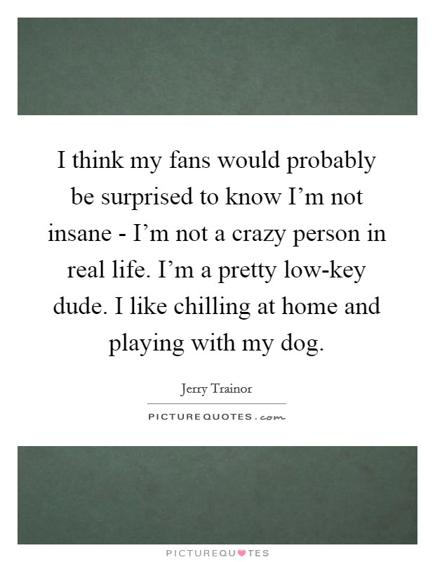 I think my fans would probably be surprised to know I'm not insane - I'm not a crazy person in real life. I'm a pretty low-key dude. I like chilling at home and playing with my dog Picture Quote #1