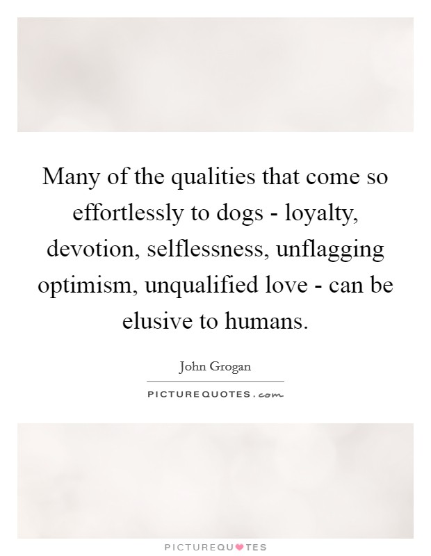 Many of the qualities that come so effortlessly to dogs - loyalty, devotion, selflessness, unflagging optimism, unqualified love - can be elusive to humans Picture Quote #1