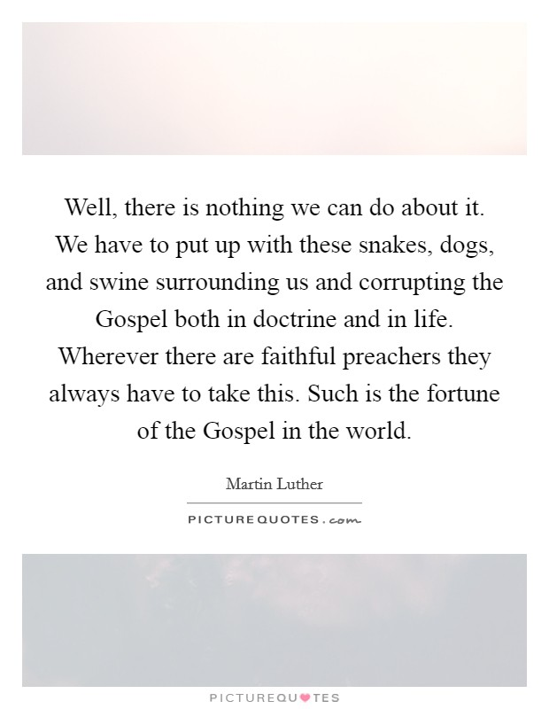 Well, there is nothing we can do about it. We have to put up with these snakes, dogs, and swine surrounding us and corrupting the Gospel both in doctrine and in life. Wherever there are faithful preachers they always have to take this. Such is the fortune of the Gospel in the world Picture Quote #1