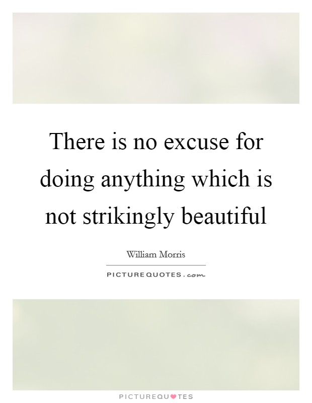 There is no excuse for doing anything which is not strikingly beautiful Picture Quote #1