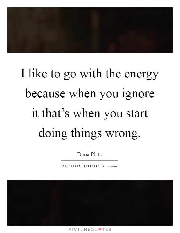 I like to go with the energy because when you ignore it that's when you start doing things wrong Picture Quote #1