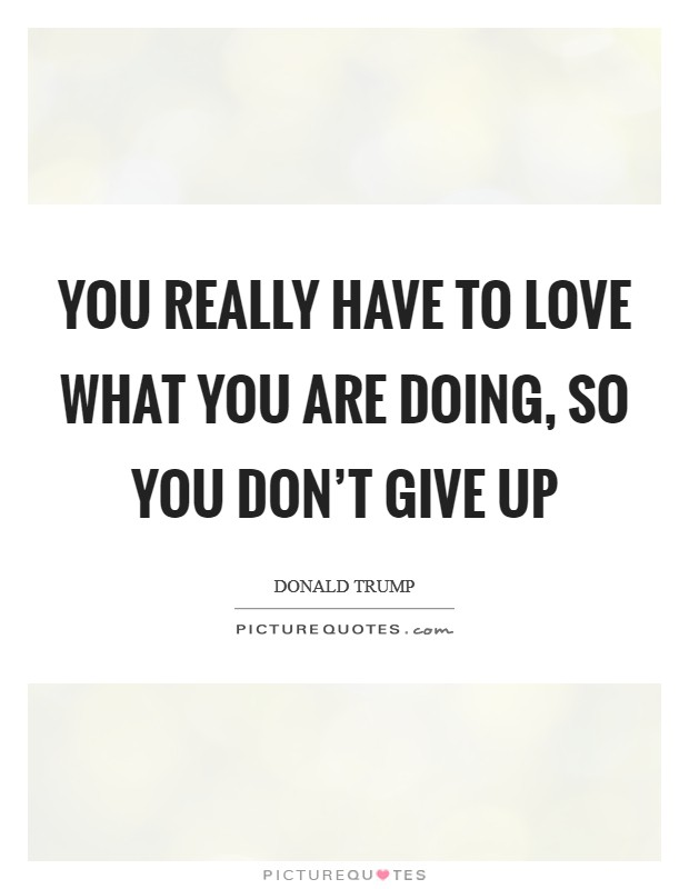 You really have to love what you are doing, so you don't give up Picture Quote #1