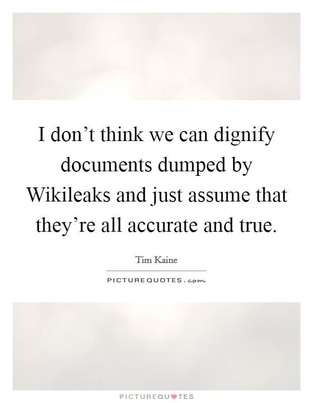 I don't think we can dignify documents dumped by Wikileaks and just assume that they're all accurate and true Picture Quote #1