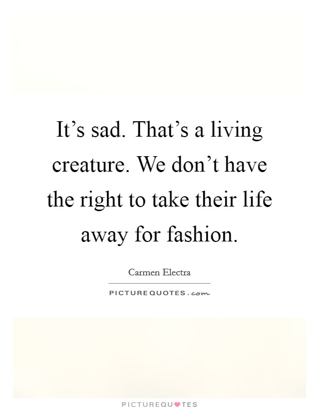 It's sad. That's a living creature. We don't have the right to take their life away for fashion Picture Quote #1