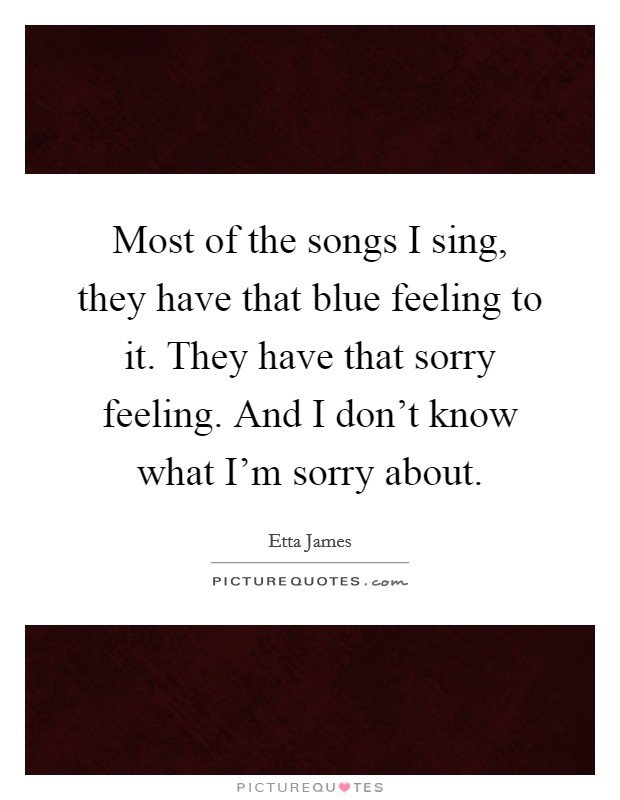 Most of the songs I sing, they have that blue feeling to it. They have that sorry feeling. And I don't know what I'm sorry about Picture Quote #1