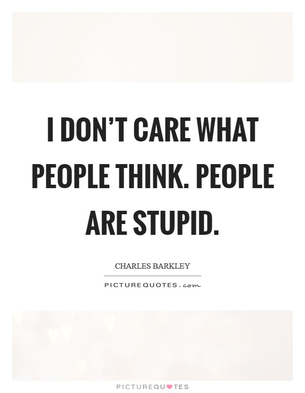 I don't care what people think. people are stupid Picture Quote #1