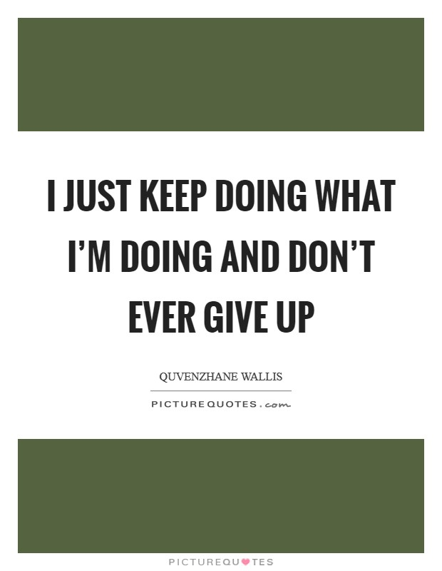 I just keep doing what I'm doing and don't ever give up Picture Quote #1