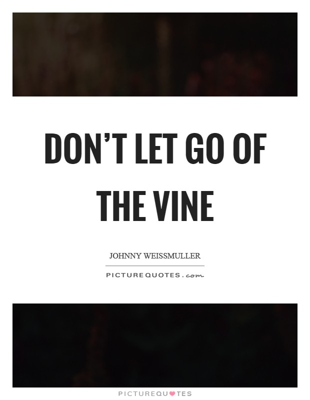 Don't let go of the vine Picture Quote #1