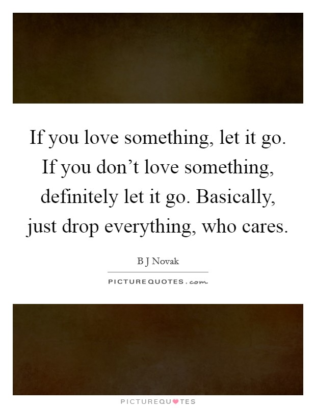 If you love something, let it go. If you don't love something, definitely let it go. Basically, just drop everything, who cares Picture Quote #1