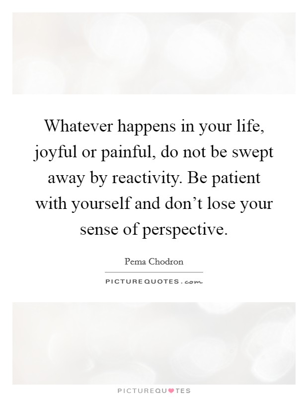 Whatever happens in your life, joyful or painful, do not be swept away by reactivity. Be patient with yourself and don't lose your sense of perspective Picture Quote #1
