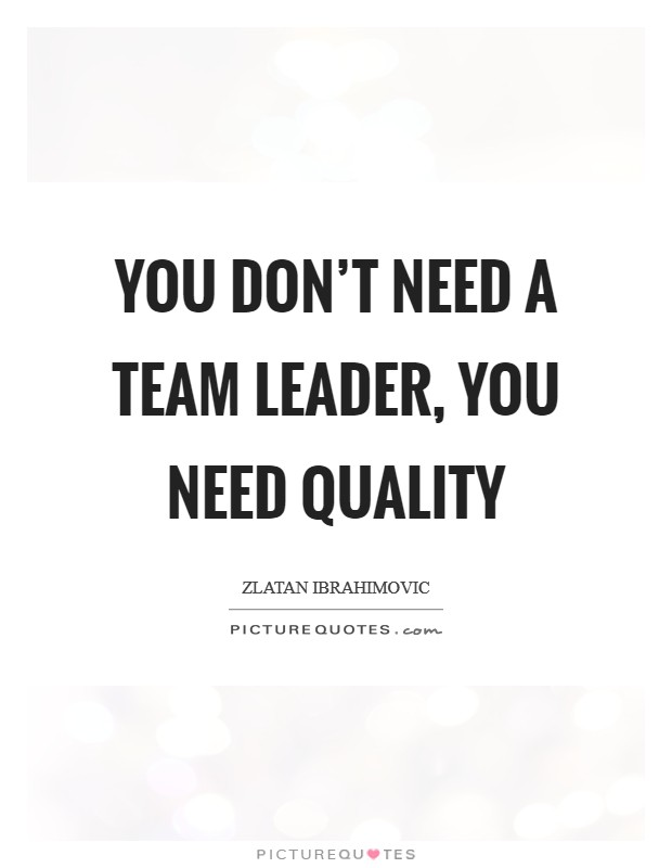 You don't need a team leader, you need quality Picture Quote #1