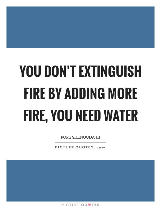 You don't extinguish fire by adding more fire, you need water Picture Quote #1