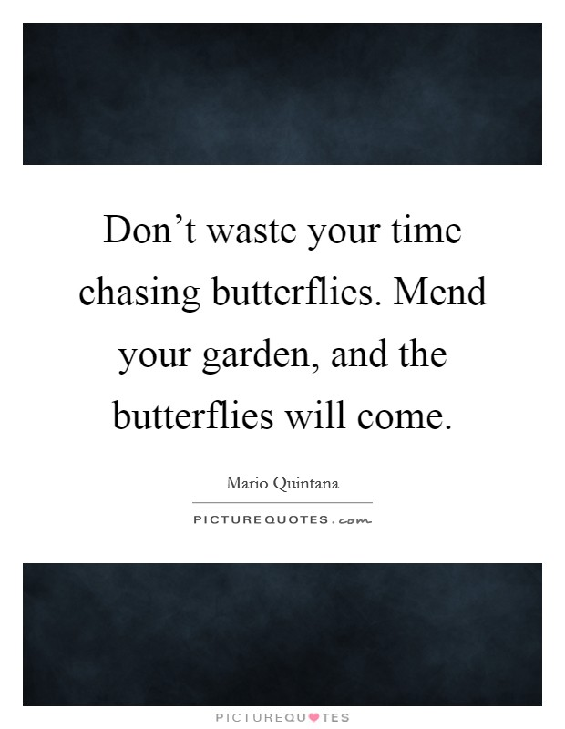 Don't waste your time chasing butterflies. Mend your garden, and the butterflies will come Picture Quote #1