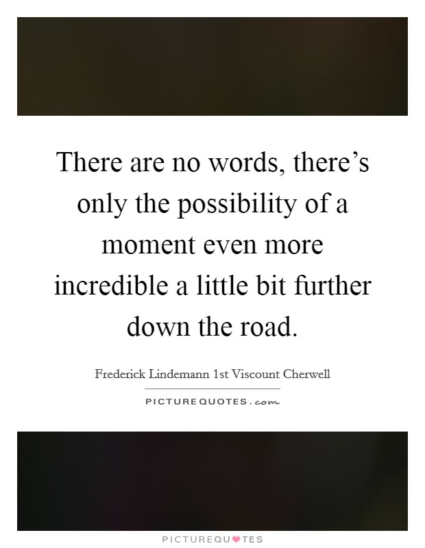 There are no words, there's only the possibility of a moment even more incredible a little bit further down the road Picture Quote #1