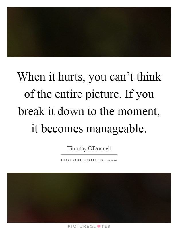 When it hurts, you can't think of the entire picture. If you break it down to the moment, it becomes manageable Picture Quote #1