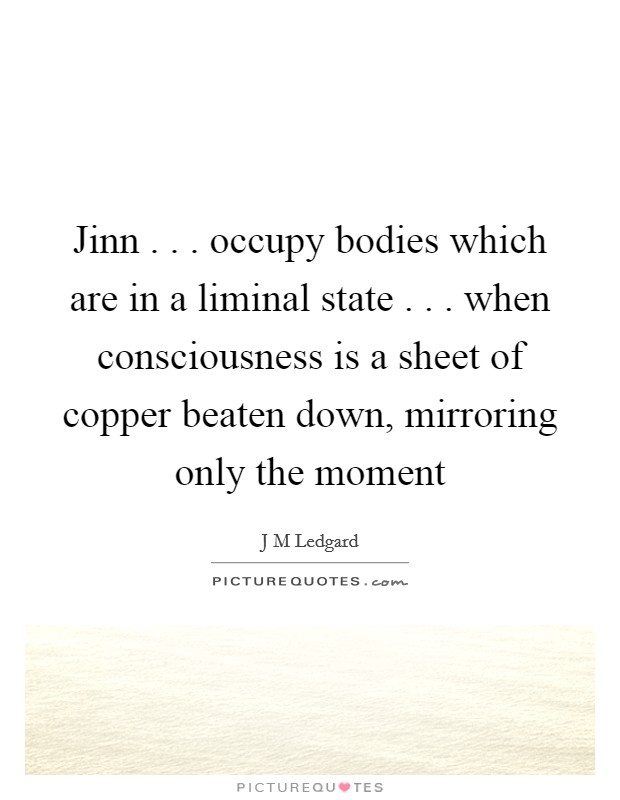 Jinn . . . occupy bodies which are in a liminal state . . . when consciousness is a sheet of copper beaten down, mirroring only the moment Picture Quote #1