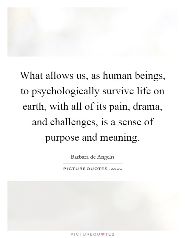 What allows us, as human beings, to psychologically survive life on earth, with all of its pain, drama, and challenges, is a sense of purpose and meaning. Picture Quote #1