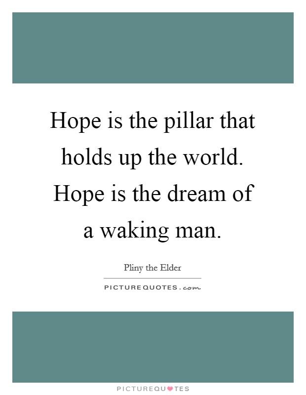Hope is the pillar that holds up the world. Hope is the dream of a waking man Picture Quote #1