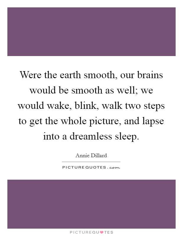 Were the earth smooth, our brains would be smooth as well; we would wake, blink, walk two steps to get the whole picture, and lapse into a dreamless sleep Picture Quote #1