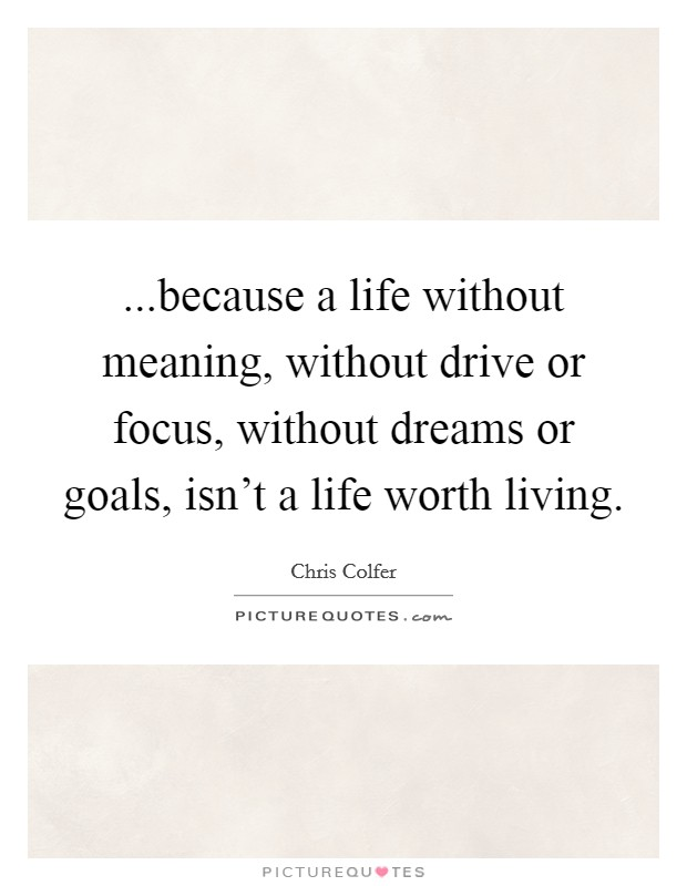 ...because a life without meaning, without drive or focus, without dreams or goals, isn't a life worth living Picture Quote #1