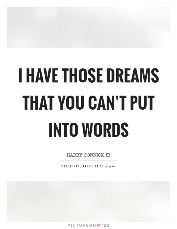 I have those dreams that you can't put into words Picture Quote #1
