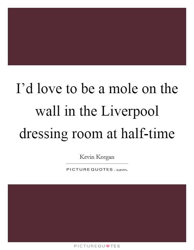 I'd love to be a mole on the wall in the Liverpool dressing room at half-time Picture Quote #1