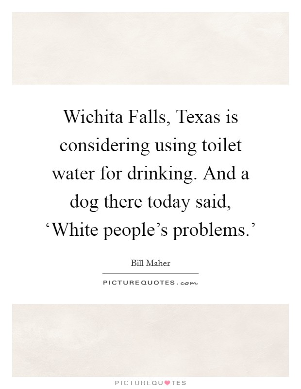 Wichita Falls, Texas is considering using toilet water for drinking. And a dog there today said, 'White people's problems.' Picture Quote #1