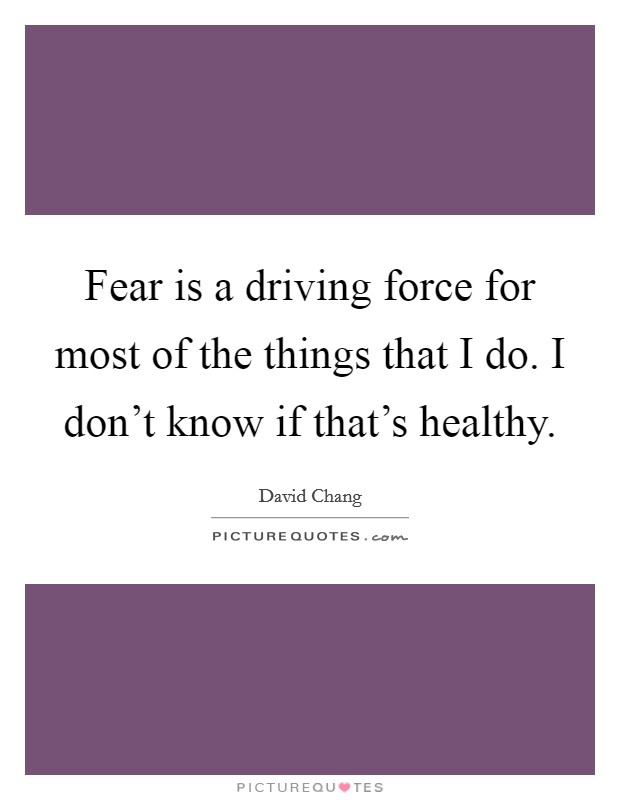 Fear is a driving force for most of the things that I do. I don't know if that's healthy Picture Quote #1