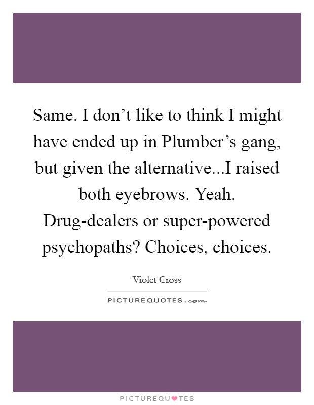 Same. I don't like to think I might have ended up in Plumber's gang, but given the alternative...I raised both eyebrows. Yeah. Drug-dealers or super-powered psychopaths? Choices, choices Picture Quote #1