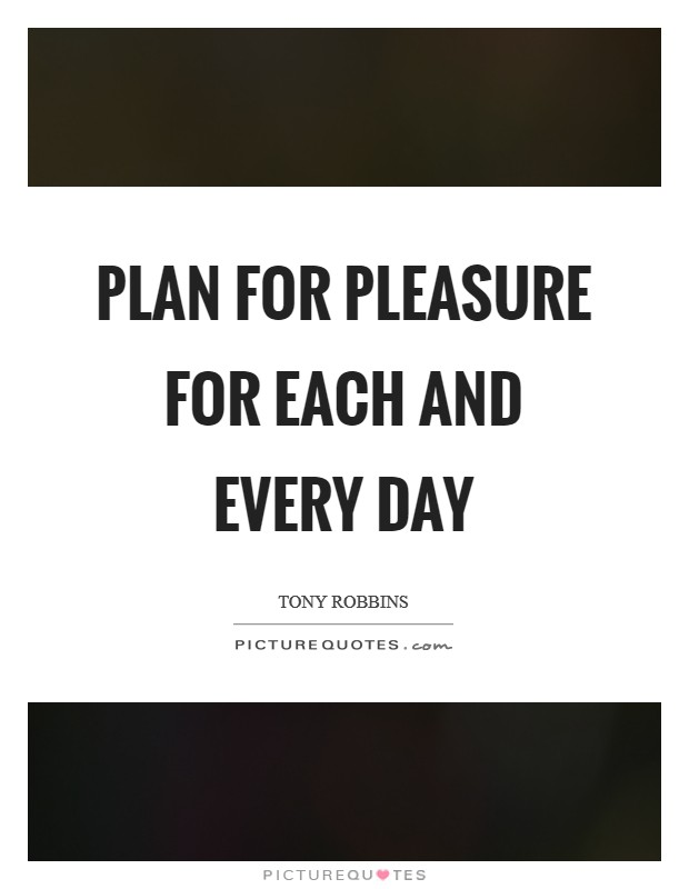 Plan for pleasure for each and every day Picture Quote #1