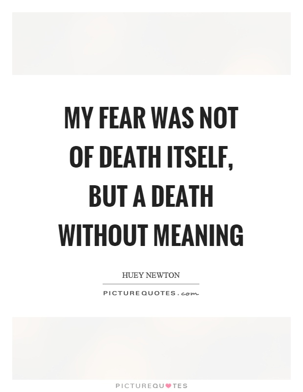 My fear was not of death itself, but a death without meaning Picture Quote #1