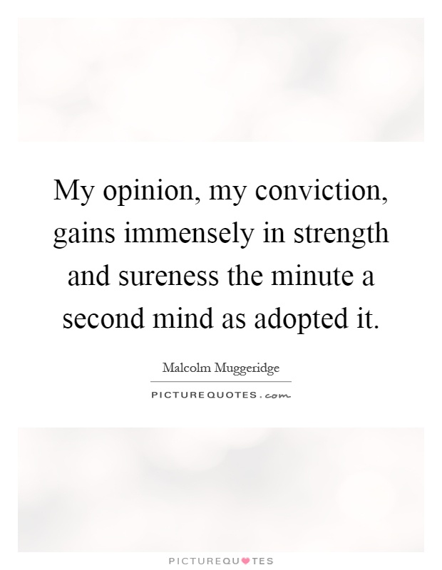 My opinion, my conviction, gains immensely in strength and sureness the minute a second mind as adopted it Picture Quote #1