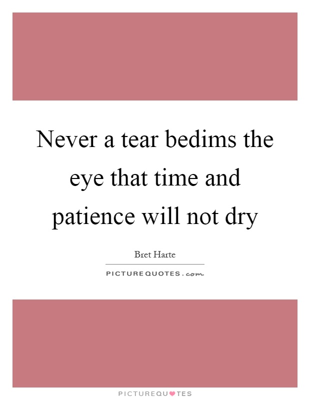 Never a tear bedims the eye that time and patience will not dry Picture Quote #1