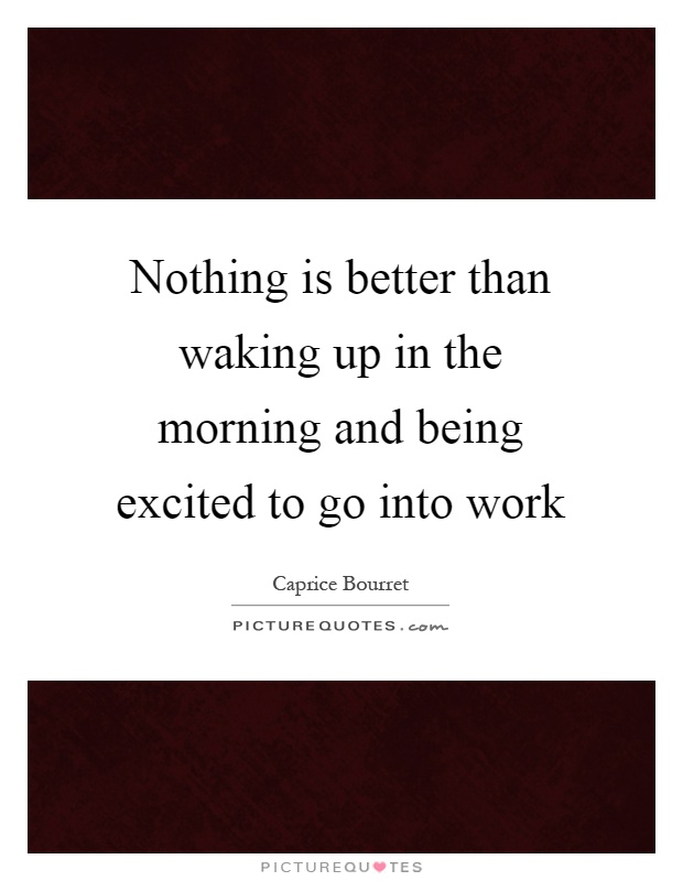 Nothing is better than waking up in the morning and being excited to go into work Picture Quote #1