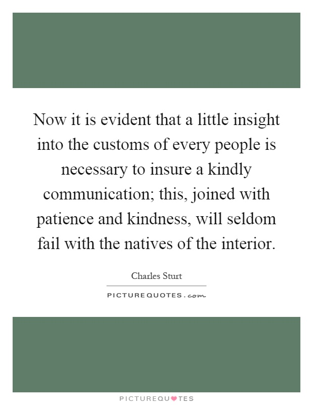 Now it is evident that a little insight into the customs of every people is necessary to insure a kindly communication; this, joined with patience and kindness, will seldom fail with the natives of the interior Picture Quote #1
