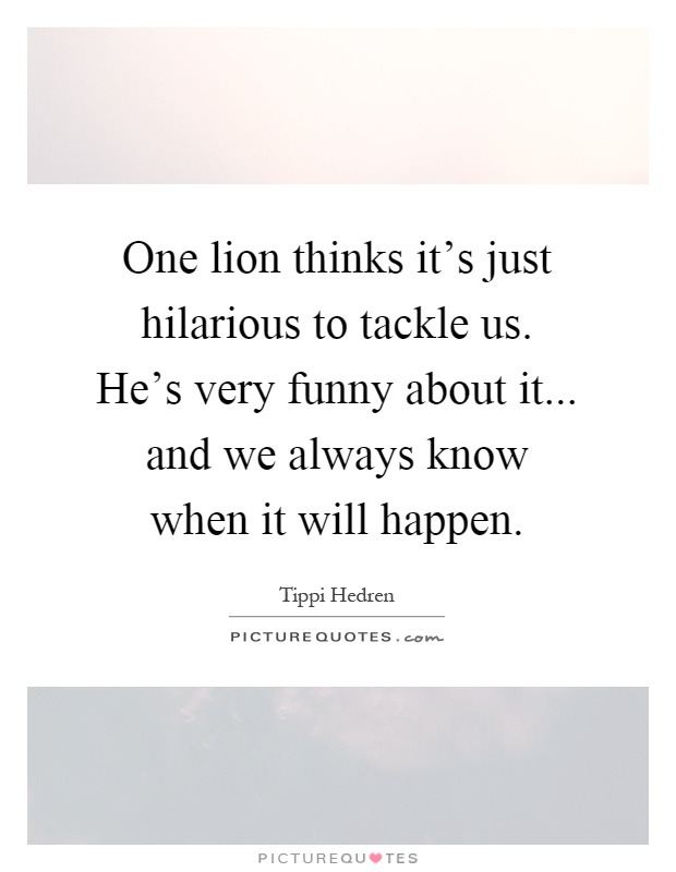 One lion thinks it's just hilarious to tackle us. He's very funny about it... and we always know when it will happen Picture Quote #1