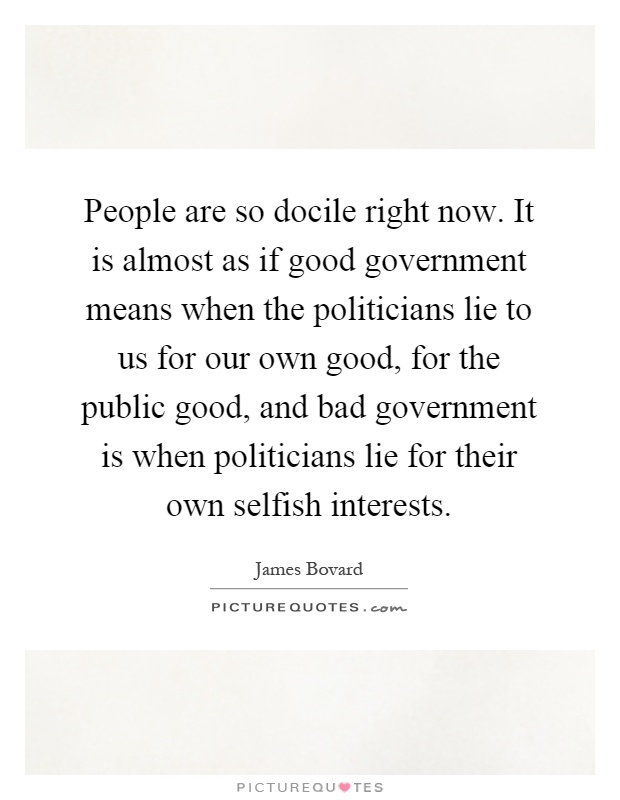 People are so docile right now. It is almost as if good government means when the politicians lie to us for our own good, for the public good, and bad government is when politicians lie for their own selfish interests Picture Quote #1