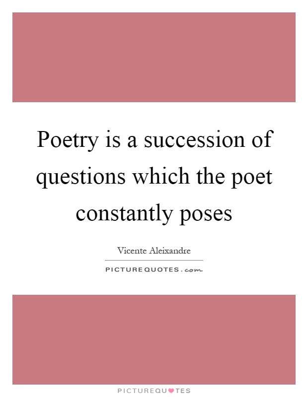 Poetry is a succession of questions which the poet constantly poses Picture Quote #1