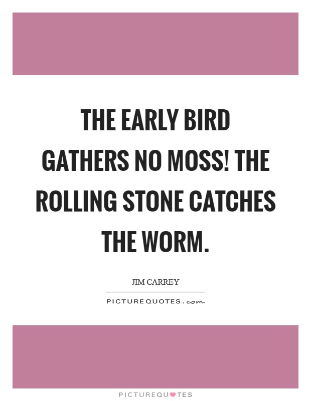 The early bird gathers no moss! The rolling stone catches the worm. Picture Quote #1